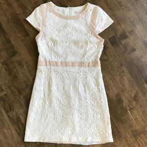 Skies are Blue cream lace overlay cap sleeve dress